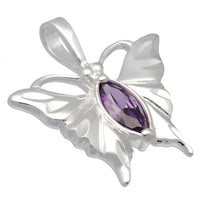 Classic Purple CZ Butterfly Etched Wings Solid Sterling Silver Pendant - Silver Insanity