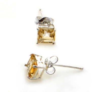 5mm Square Genuine Golden Yellow Citrine Studs Sterling Silver Post Earrings - Silver Insanity