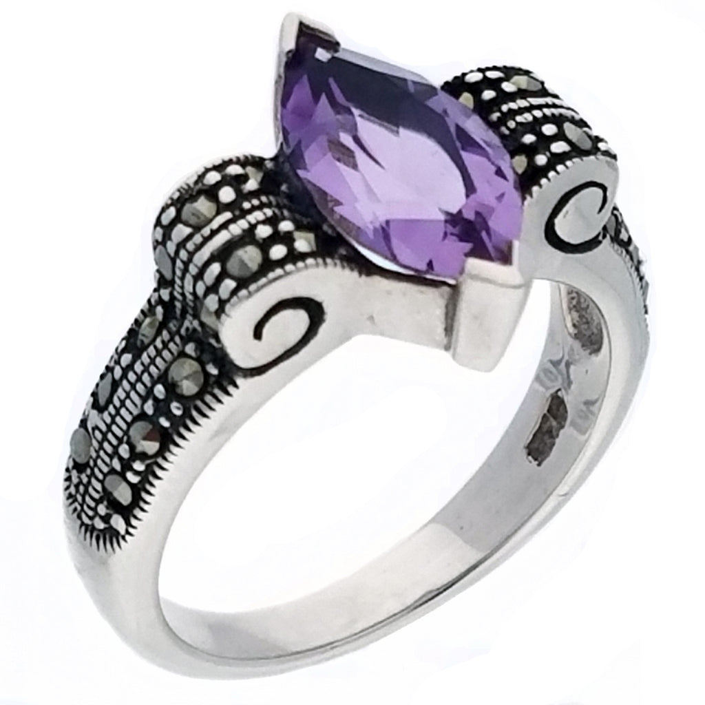 Genuine Marquise Amethyst and Marcasite Deco Swirl Sterling Silver Ring