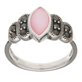 Sterling Silver Marquise Pink Shell Mother of Pearl and Marcasite Ring