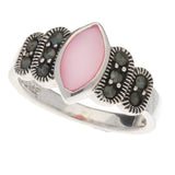 Sterling Silver Marquise Pink Shell Mother of Pearl and Marcasite Ring - Silver Insanity