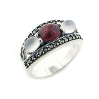 Deco Style Sterling Silver Garnet, Moonstone, and Marcasite Band Ring - Silver Insanity