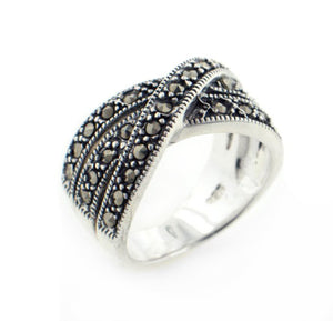 Crossover 11mm Wide Marcasite Sterling Silver X Band Ring - Silver Insanity