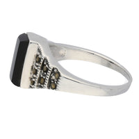 Marcasite and Black Onyx Sterling Silver Bar Ring - Silver Insanity