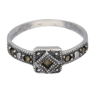 Petite Light Weight Square Sterling Silver Marcasite Ring - Silver Insanity
