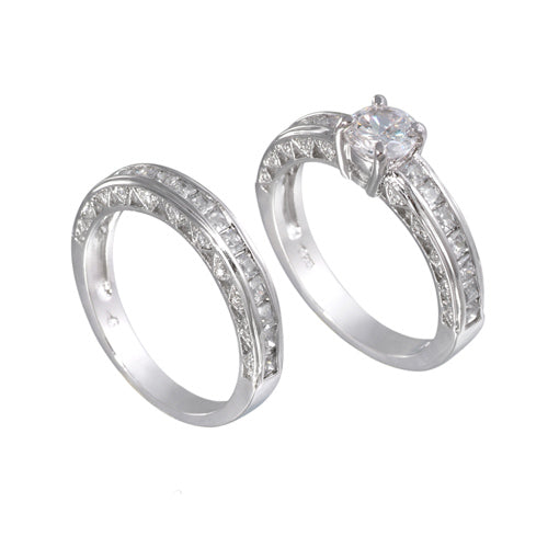 Sterling Silver 7mm Round Wedding Ring Band Set