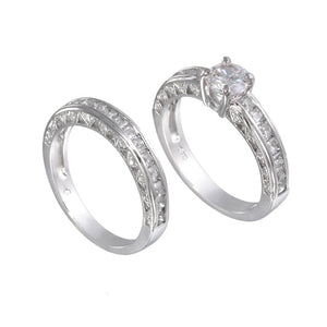 Sterling Silver 7mm Round Wedding Ring Band Set - Silver Insanity