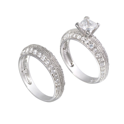 Sterling Silver Princess Wedding Ring Band Set