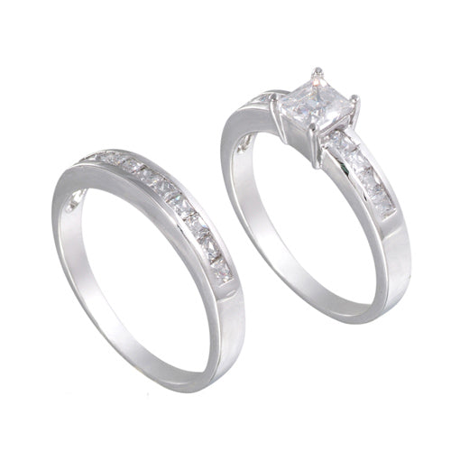 Sterling Silver Square Wedding Ring Band Set