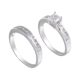 Sterling Silver Square Wedding Ring Band Set - Silver Insanity