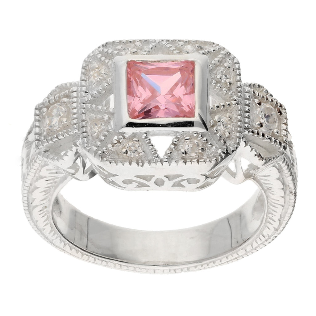Square Princess Cut Pink Ice and White CZ Sterling Silver Promise Ring