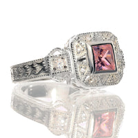 Square Princess Cut Pink Ice and White CZ Sterling Silver Promise Ring - Silver Insanity