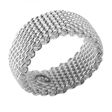 Flexible Mesh Chain Link Ring Sterling Silver Wire - Silver Insanity