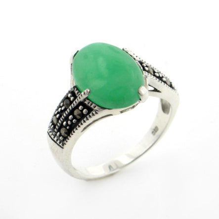 Green Jade Marcasite Sterling Silver Band Ring