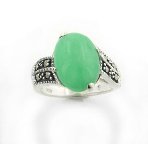Green Jade Marcasite Sterling Silver Band Ring - Silver Insanity