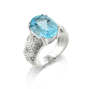 Genuine 6.5ct Blue Topaz Sterling Silver Ring - Silver Insanity