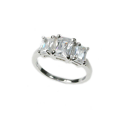 3-Stone Anniversary Emerald-Cut White CZ Ring Sterling Silver - Silver Insanity