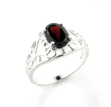 Open Lace Filigree and Red Genuine Garnet Sterling Silver Ring