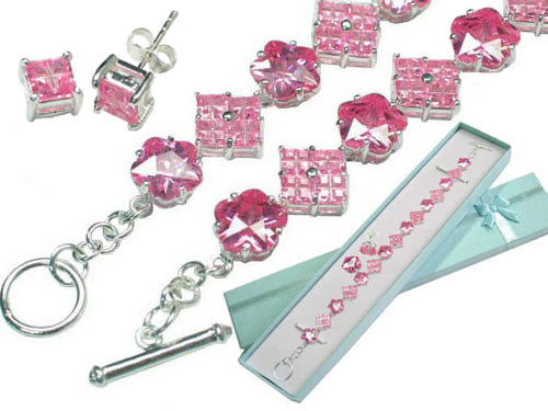Sterling Silver Pink Ice CZ Bracelet and Earrings Set - Silver Insanity