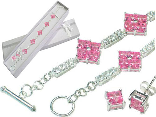 Sterling Silver Pink and White CZ Bracelet Earrings Set - Silver Insanity