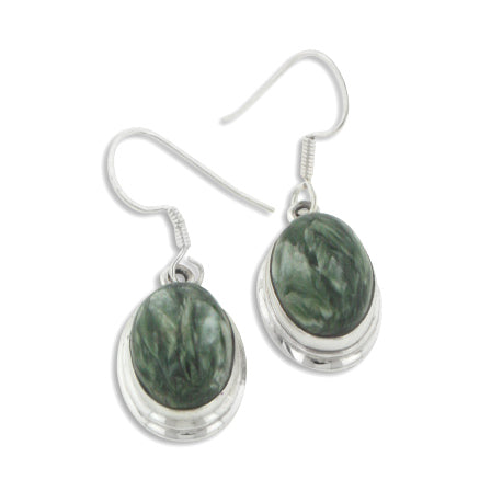 Feathered Green Seraphinite Oval Genuine Gemstone Sterling Silver Earrings - Silver Insanity