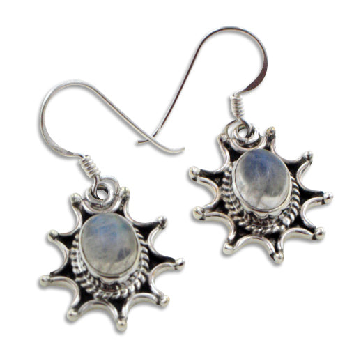 Starburst Sun Natural Rainbow Moonstone Sterling Silver Hook Earrings - Silver Insanity