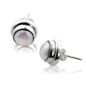 White Cultured Freshwater Pearl Studs Sterling Silver Round Post Earrings - Silver Insanity