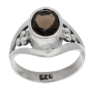 Smoky Quartz Faceted Oval 7x9mm Gemstone Sterling Silver Ring - Silver Insanity