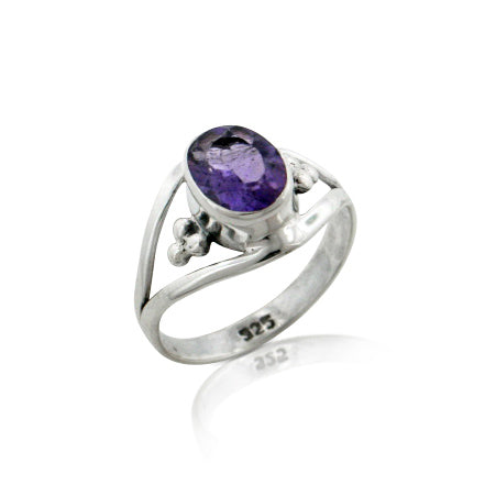 Amethyst Faceted Oval 7x9mm Genuine Gemstone Sterling Silver Ring - Silver Insanity