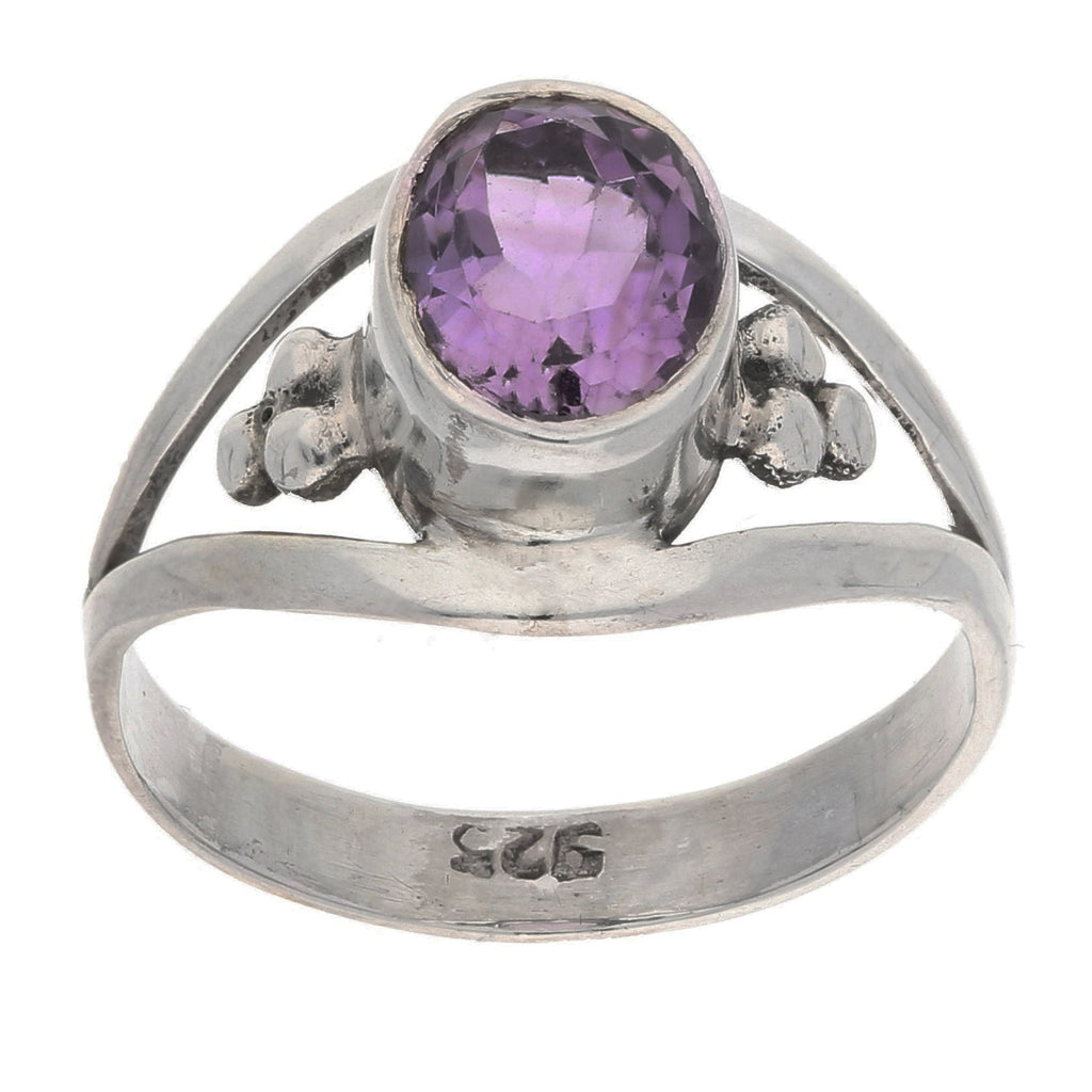 Amethyst Faceted Oval 7x9mm Genuine Gemstone Sterling Silver Ring