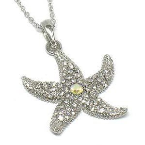 "Aurora Borealis and White Crystal Starfish Pendant 18"" Necklace"