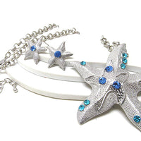 Large Starfish with Blue Crystals Pendant Necklance and Earrings Set - Silver Insanity
