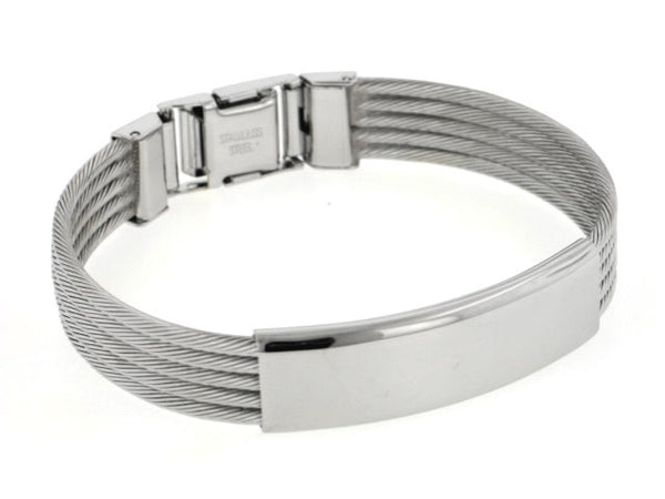 Stainless Steel Engraveable Wire Cable Bangle Bracelet - Silver Insanity