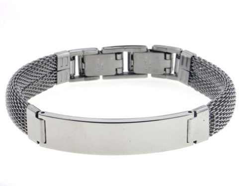 316L Stainless Steel Mesh Chain and Flat Plate Center Bangle Bracelet - Silver Insanity