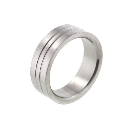 Mens 316L Stainless Steel Gemini Striped 7mm Wide Band Ring - Silver Insanity