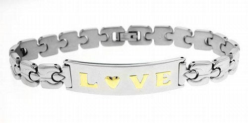 Stainless Steel Link and 18K Gold Love Heart Link Bracelet