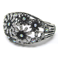 Snowflake Cuff Bracelet with Aurora Borealis Crystals for Formal, Prom, Weddings - Silver Insanity