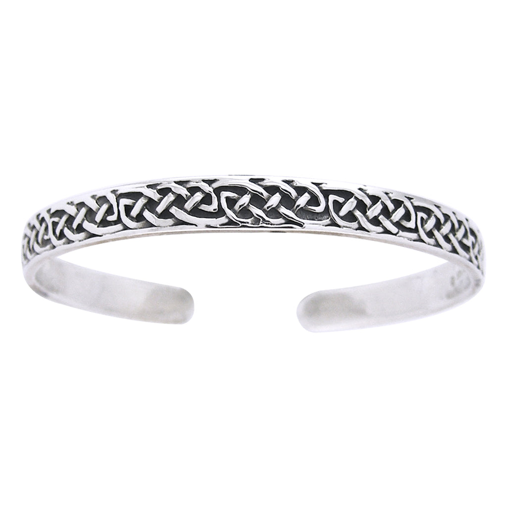 Sterling Silver Classic Celtic Knot Adjustable Cuff Bracelet
