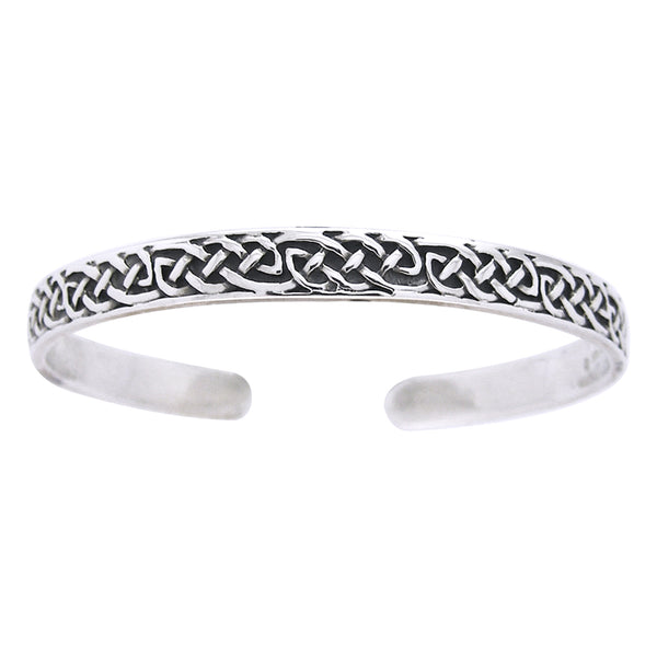 Sterling Silver Classic Celtic Knot Adjustable Cuff Bracelet - Silver Insanity