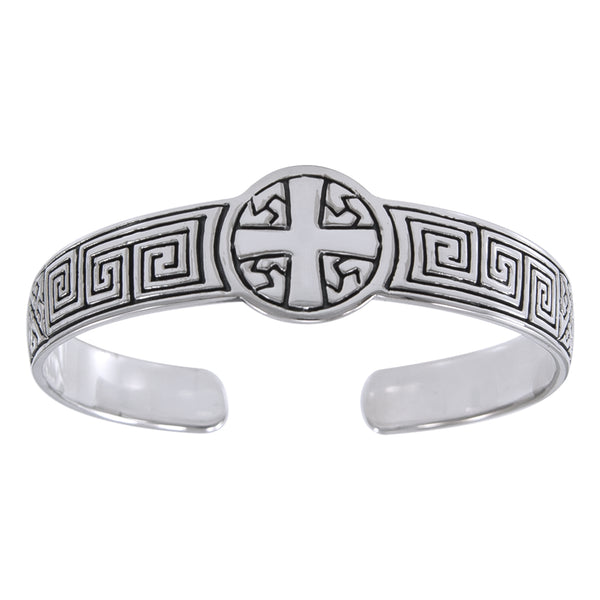 Greek Square Spiral Sturdy Sterling Silver Heavy Weight Adjustable Cross Cuff Bracelet - Silver Insanity