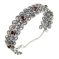 "Swirled Sterling Silver Cuff Bangle 7"" Bracelet with Amber - Gift Boxed - Silver Insanity"