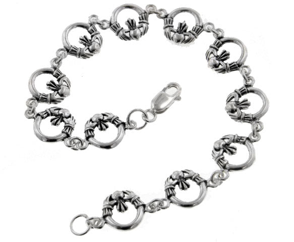 "Sterling Silver Irish Celtic Claddagh Link 7"" Bracelet"