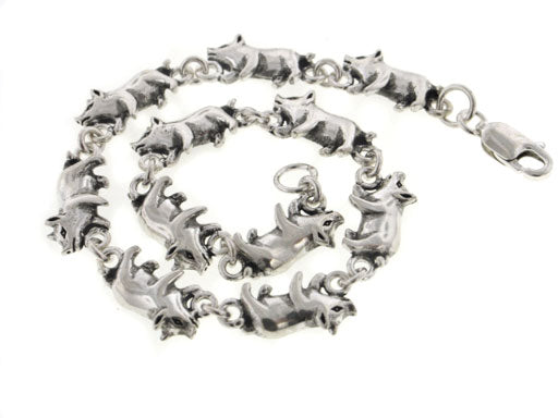 "Detailed Little Pigs Sterling Silver Pig Link 7"" Bracelet"