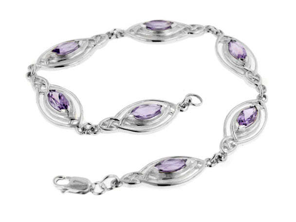 Sterling Silver Marquise Amethyst Celtic Knot Elliptical Ovals Bracelet - Silver Insanity