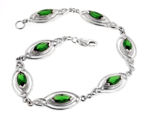 "Sterling Silver Green Glass Celtic Knot 7.5"" Bracelet"