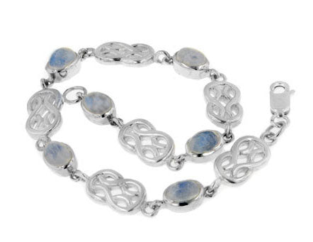 "Sterling Silver Genuine Rainbow Moonstone Celtic Knot 7"" Link Bracelet"