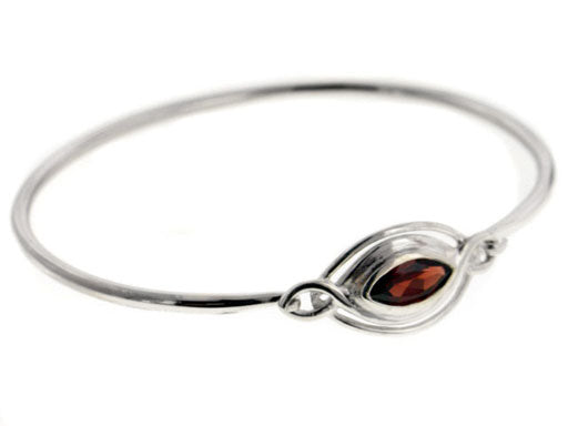 Elliptical Classic Sterling Silver Bangle Bracelet with a 1ct Garnet Gemstone - Silver Insanity
