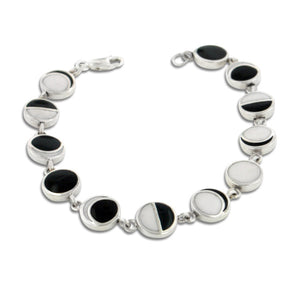 "Lunar Phases of the Moon Enameled Inlay Sterling Silver 7"" Link Bracelet - Silver Insanity"