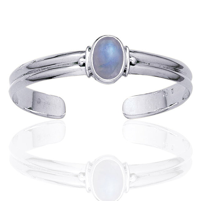 Adjustable Sterling Silver Cuff Bracelet with a Rainbow Moonstone Center Gem