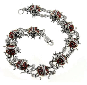 Sterling Silver Detailed Red Enameled Ladybug Bracelet - Silver Insanity